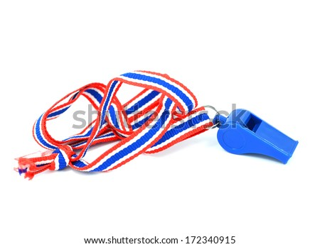 Blue whistle with Thailand national flag lanyard in heart shape on white background - stock photo