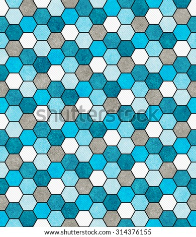 Blue, White and Gray Hexagon Mosaic Abstract Geometric Design Tile Pattern Repeat Background that is seamless and repeats - stock photo