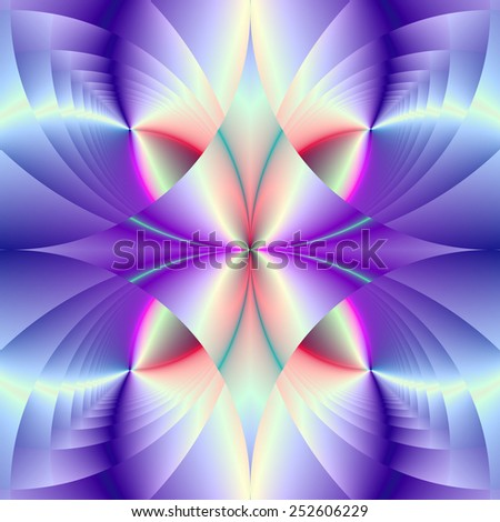 Blue White and Violet Gem / A digital abstract fractal image with a colorful geometric gem design in blue violet and white. - stock photo