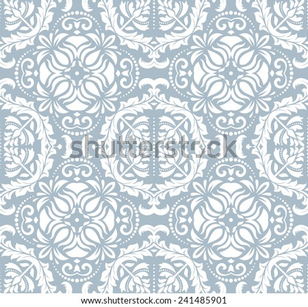 Blue-white damask  floral pattern with arabesque and oriental elements. Seamless abstract traditional background