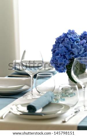 Blue White Hydrangea Table Setting - stock photo