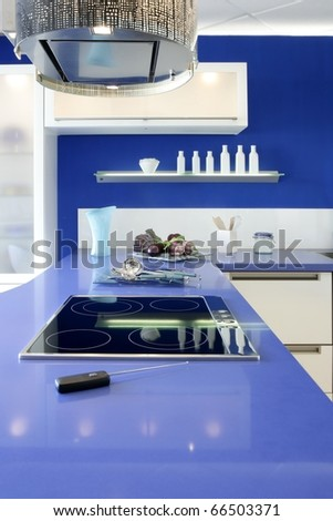 Blue white kitchen modern interior design house architecture - stock photo