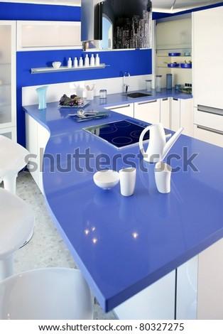 Blue white kitchen modern interior design house architecture - stock photo