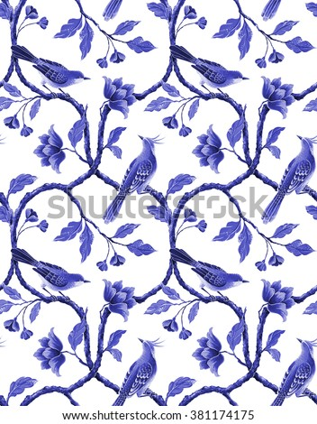 blue white seamless floral pattern, spring flowers and birds background, hand painted chinese wallpaper - stock photo