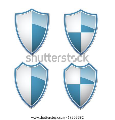 blue-white shields collection, illustration - stock photo