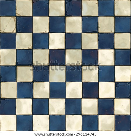 blue white tiles seamless - stock photo