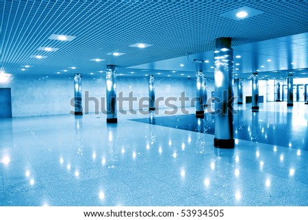 blue wide modern hall inside - stock photo