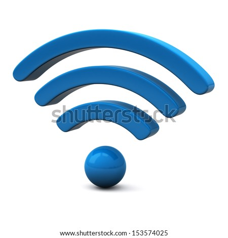 Blue wifi icon, 3d - stock photo