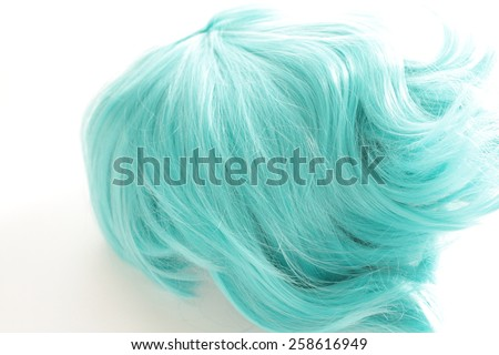 blue wig for cosplay fashion image - stock photo