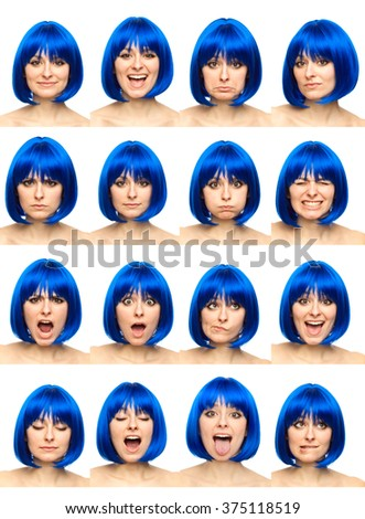 blue wig young caucasian woman collection set of face expression like happy, sad, angry, surprise, yawn isolated on white - stock photo