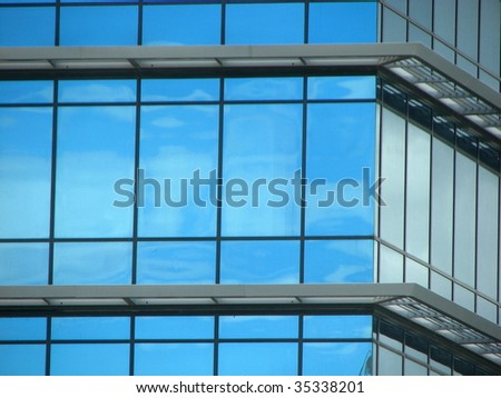 Blue Window Abstract 1 - stock photo