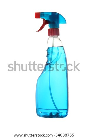 Blue window cleaning solution in a plastic container isolated on white - stock photo