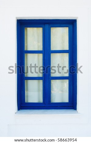 Blue Window on white House in Greece - stock photo