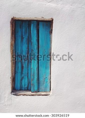 Blue window, retro background - stock photo