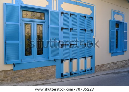 Blue windows of Lefkara house