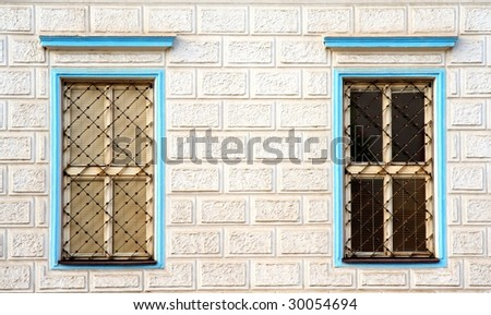 blue windows with bars