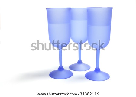 Blue Wine Glasses on Isolated White Background