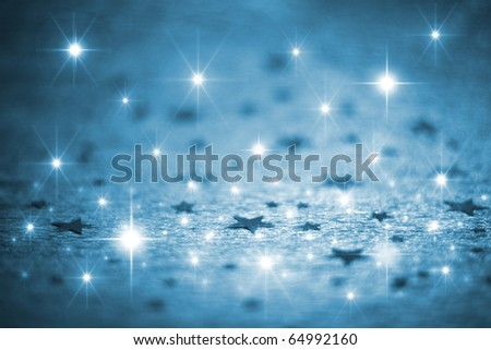 Blue winter background with stars - stock photo