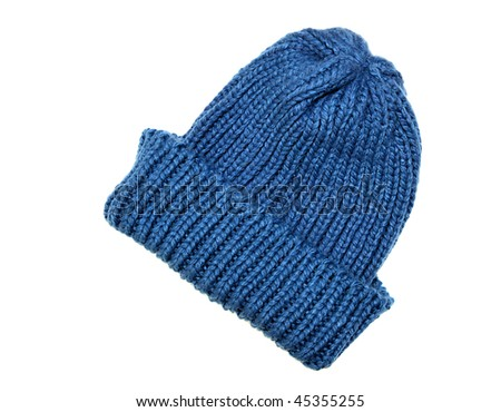 Blue winter cap isolated on white - stock photo