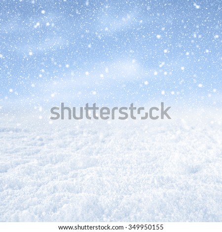 blue winter snow background  - stock photo