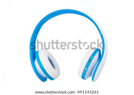 Blue wireless headphones isolated on white background