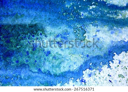 Blue with Green Watercolor Background 1 - stock photo