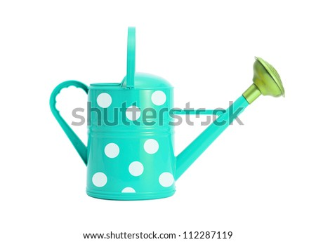 blue with white polka dot watering can isolated on white - stock photo
