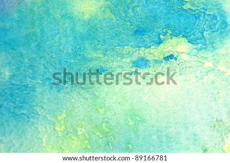 Blue with yellow watercolor background 5 - stock photo
