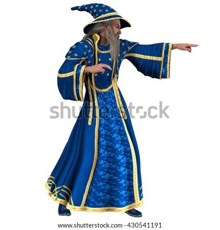 blue wizard casting spell pointing right stock illustration