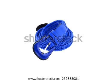 blue woman crochet belt isolated on white background  - stock photo