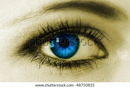 Blue woman eye closeup - stock photo