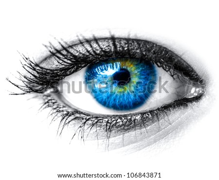 Blue woman eye macro shot - stock photo