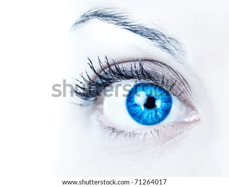 Blue woman eye. Over white background - stock photo