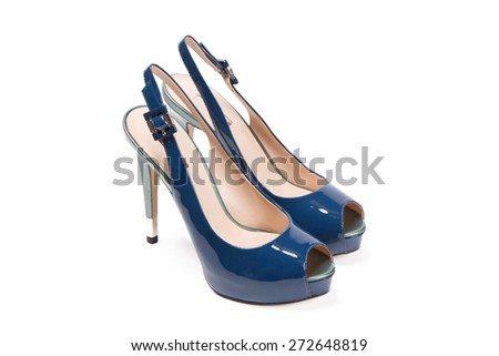 Blue woman sandals  isolated on a white background - stock photo
