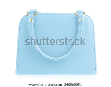 Blue women bag isolated on white background - stock photo