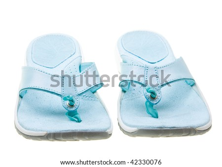 Blue women flip-flops isolated on white background