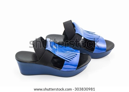 Blue women shoes on white background.