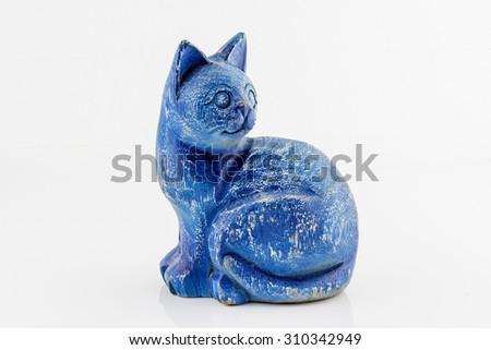 Blue wood cat isolated on white background - stock photo