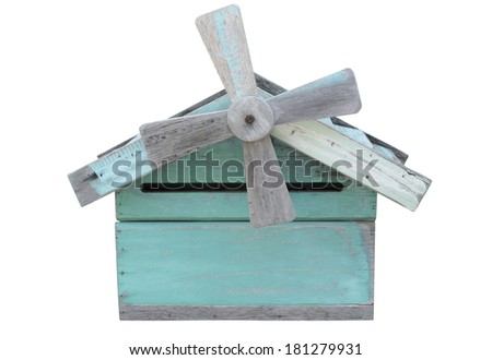blue wood mail box and four propeller isolated with clipping path - stock photo