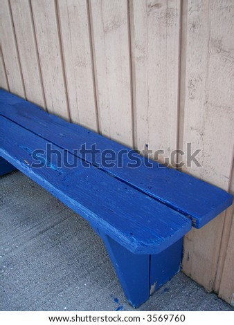 blue wooden bench