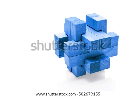 Blue wooden Brain Teaser on White Background