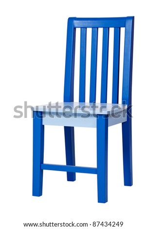 Blue wooden chair isolated over white, with clipping path - stock photo