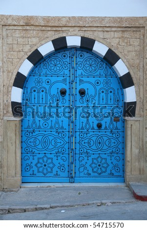 blue wooden door in arabic style