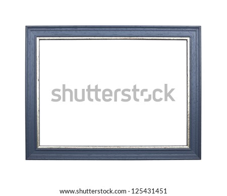 blue wooden frame isolated on white background - stock photo