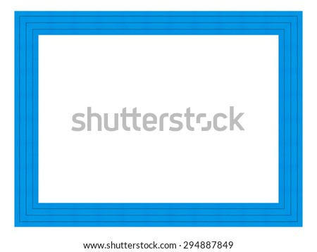 Blue wooden frame isolated on white background. Contemporary picture frames in high resolution vibrant colors. Wooden photo frame. Wooden frame for paintings or photographs. - stock photo