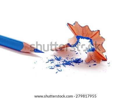 Blue wooden pencil with sharpening shavings, isolated on white.Studio shot. - stock photo