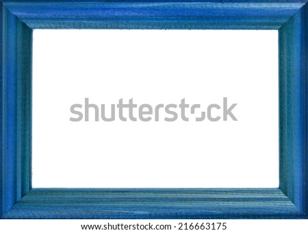 Blue Wooden Photo Frame  isolated on a white background - stock photo