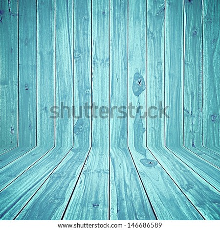 Blue wooden room background - stock photo
