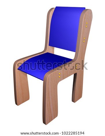 blue wooden small chair children isolated stock illustration