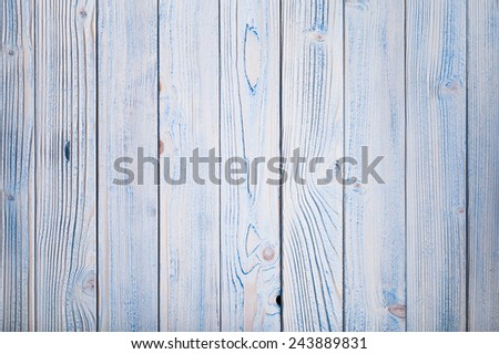 Blue wooden wall, painted in shabby chic style - stock photo